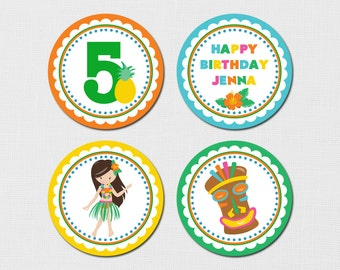 Printable Luau Cupcake Toppers, Luau Cupcake toppers, Luau Birthday Party, Luau Party, Hawaiian Cupcake toppers, Hula Dancer Cupcake Toppers