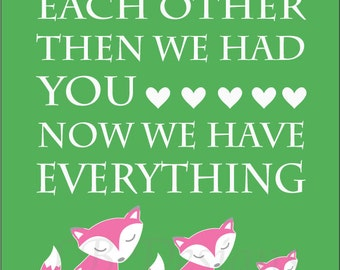 Pink and Green Girl Woodland Nursery Quote Print - 8x10