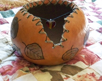 Handcrafted Gourd Bowl with Leaf Design and Swinging Center Heart OOAK