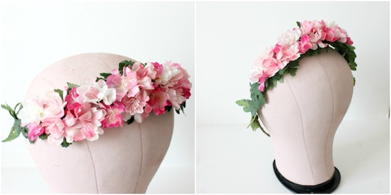 Pink Floral Crown. Wedding flower crown, Bridal Flower Crown. Woodland, Spring, Summer, Bridal headpiece