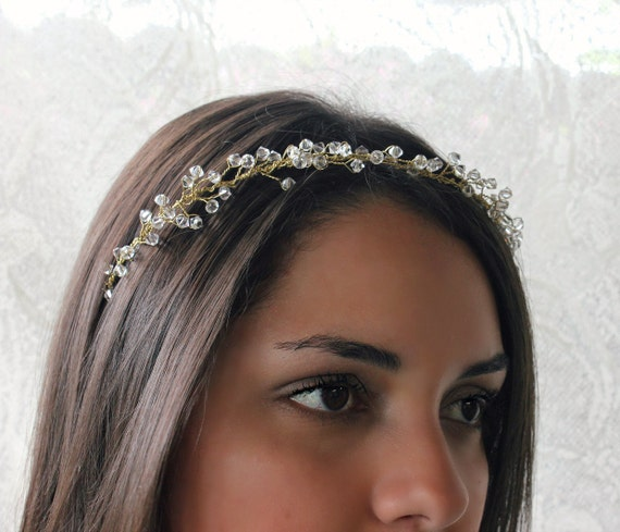 Crystal baby breath halo, hair vine, bridal headpiece, summer, weddings, swarovski, wedding headpiece, bohemian, crystal halo, autumn