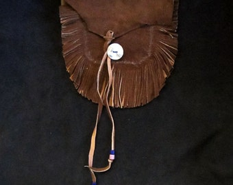 Sheep Skin and Pink Abalone Belt Bag with Double Fringe