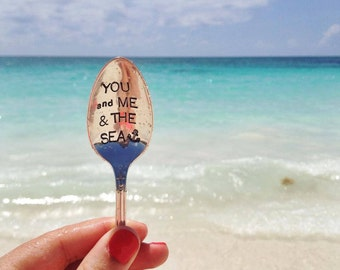 You and Me & the Sea - Hand Stamped Vintage Spoon - For Such A TIme Designs - Anchor, Ocean, Beach, coffee spoon, cereal spoon