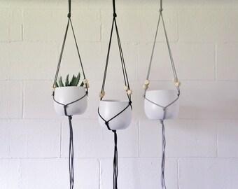Hanging Planter | White Ceramic Pot | Macrame | Geometric Beads