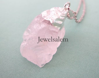 Rose Quartz Necklace Pink Gem Stone Gemstone Long Silver Necklace Layered Chunky Big Pendant Raw Natural Drusy Druzy Style Simple Rustic