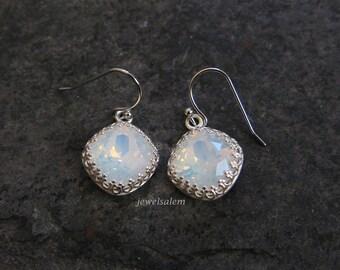 White Opal Earrings Silver Earring Moonstone Rhinestone Swarovski Crystal Gemstone Bridal Jewelry Bridesmaid Gift Wedding Party Statement JW