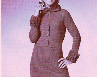 INSTANT DOWNLOAD  2 Vintage knitting  crochet Pattern , pdf  pattern,  -knitted Jaquard Suit and Shell  crochet  Loop-trimmed Suit