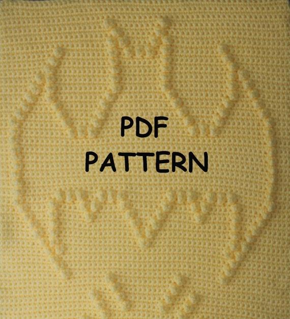 Batman Baby Blanket  Pattern - Wall Hanging  - Baby Snuggle Blanket - Car Seat Blanket