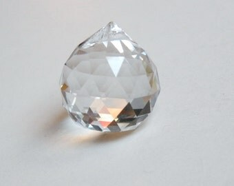 1 Faceted Crystal Ball small suncatcher clear crystal round pendant 24x20mm PGR20
