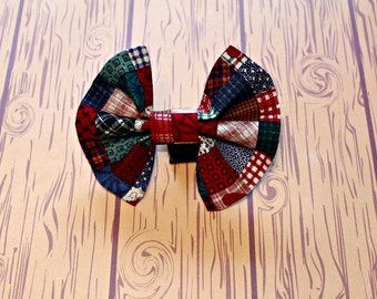 Bow Tie Dog Collar Accessory Hearts Plaid