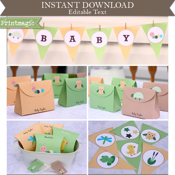 Cute Animals Baby Shower Invitation & Decorations - Cute Bug Baby Shower - Printable Party Kit - Download and Edit at home in Adobe Reader