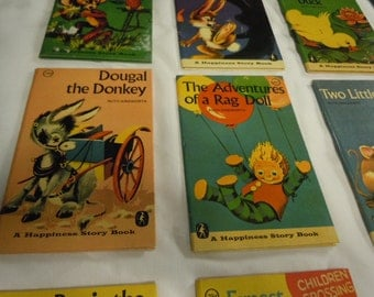 """Vintage Child's 60's Set of 12 Complete - """"A Happiness Story Books for Children """" Unique Retro Graphics Beautiful Condition"""