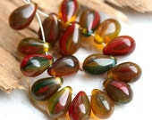 Earthy colors, Amber beads mix, Czech Glass teardrops, drops, red, brown - 6x9mm - 20pc - 0104