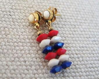 Vintage 1970s Red White and Blue Beaded Pierced Earrings Skinny Dangle