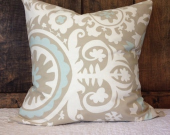CLEARANCE- Premier Prints Suzani Twill Powder Blue Pillow Cover, baby nursery pillow cover