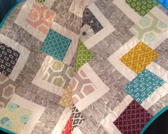 "An Ultra Modern 36.5"" X 36.5"" Quilt In The Line Called Simply Style By Vanessa Christenson for Moda"
