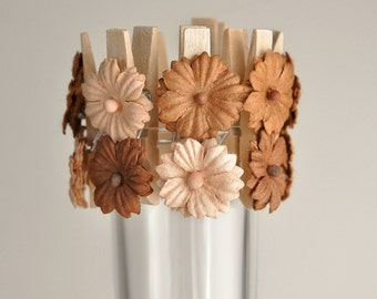 Brown Ombre Flower Clips for Spring Weddings Birthday Party Bridal Shower Decorations Cupcake Toppers Place Card Holder Wish Clips Set of 12
