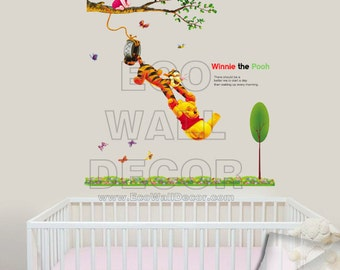 PEEL and STICK Kids Nursery Removable Vinyl Wall Sticker Mural Decal Art - Winnie the Pooh Tiger Swinging & Piglet on Tree Branch in Garden