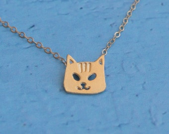 Tiny Cat Necklace , Small Kitty Charm , Gold Kawaii Animal Jewelry , Gold Cat Necklace , Cat Jewelry , Cat Face, Cat Pendant ,Cat Lover Gift