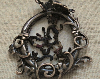 Copper Tone Flower Vine and Butterfly Oval Pendant with Embroidered Butterfly