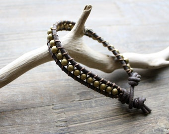 Men's Leather Bracelet with Brass Beads, Brown and Gold