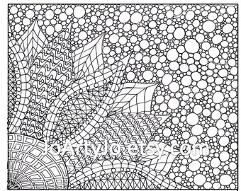 Coloring Page, Zentangle Inspired Flower, Printable- Page 2