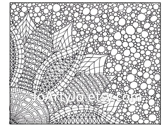 coloring page zentangle inspired flower printable page 2 - Zentangle Coloring Pages