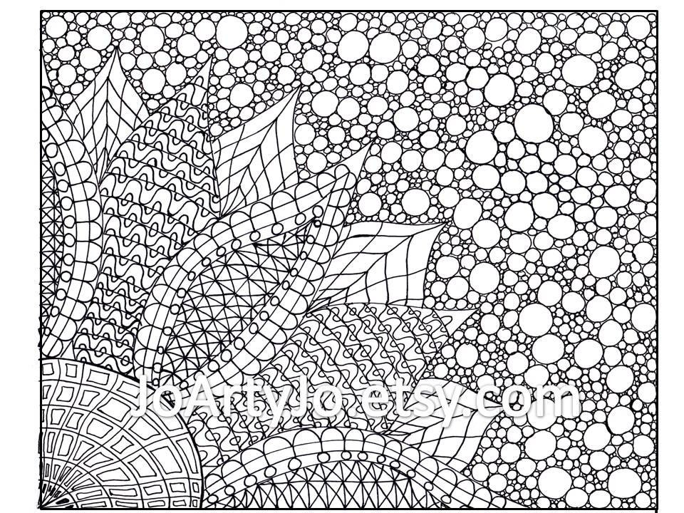 Coloring Pages For Zentangle : Coloring page zentangle inspired flower printable