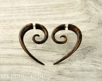 Fake Gauges Earrings Wood Swril half hook Spiral Tribal Earrings - FG018 W G1