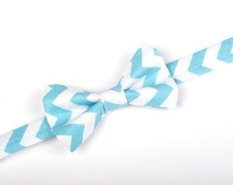 Aqua Chevron Bow Tie - Baby Toddler Child Boys - Wedding - photo prop