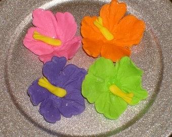 Gumpaste Hibiscus Tropical Cupcake Toppers, Cake Pops, Wedding Cakes, Showers, Birthdays