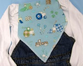 Baby boy bandana bib - blue with vehicles
