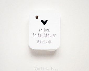 Bridal Shower Miniature Gift Tags - Wedding Favor Tags - Thank you tags - Love Heart Wedding Gift Tags - Set of 40 (Item code: J422)