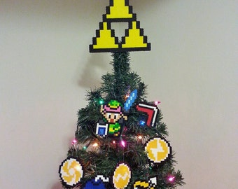 Original Zelda A Link To The Past Super Nintendo Perler Bead Christmas Tree Topper Set (8 piece)