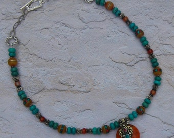 CLEARANCE - Tibetan Design with Amber Copal Resin Pendant with Beautiful Turquoise Rondelles and Tibetan Accent Amber Beads - Necklace