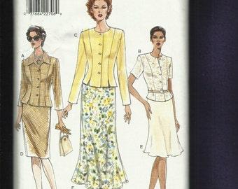 Vogue 9370 Princess Seam Jewel Neck Jacket with Front Vents & Bias Cut Skirt  Size 6