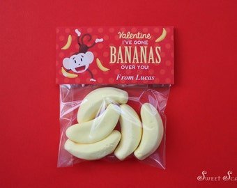 VALENTINES Bag Topper for School Favors – I've Gone Bananas for You – Add your own candy! Editable File. You Print.