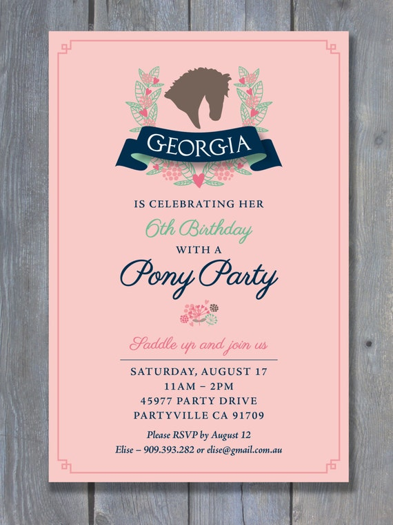 pony party invitation for birthday party  preppy equestrian style, Party invitations