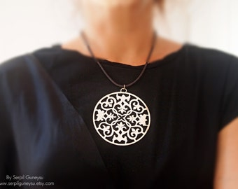 Big Ornate Pendant, Statement Necklace, Hand Cut Sterling Silver,  Big Round