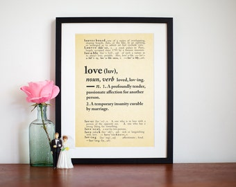 Marriage Quote Print, Dictionary Art Print, Vintage Dictionary, Love Quote Print, Personalised Wedding Print, Anniversary Gift, Quote Print