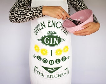 Gin Apron, Womens Apron, Funny Apron, Gin, Cooking Apron, Gin Humor, Gin Lover, Chef Humour, Chef Apron, Hostess Gift, Gin Lover Gift