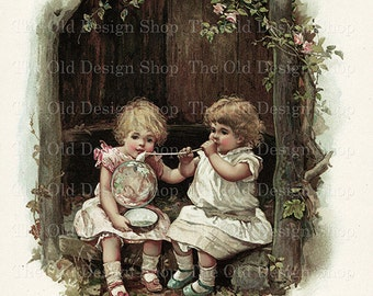 Victorian Girls Blowing Bubbles Vintage Storybook Illustration Digital Download Printable JPG Image