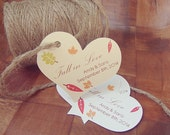 Fall in Love Heart Shaped Large Personalized Favour Tag Leaves Maple Syrup Fall Autumn Wedding