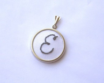 White and gray hand embroidered initial pendant / custom made / grey embroidery / monogram jewelry