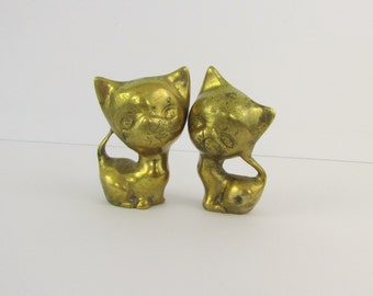 Vintage Brass Cat Figurines Mid Century Kittens