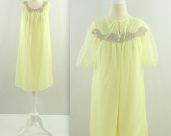 Lemon Meringue Babydoll Set - Vintage 1950s Chiffon & Lace Peignoir Set in Pastel Yellow - Medium Large