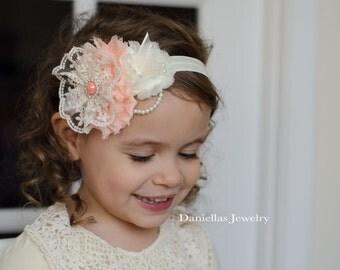 Ivory and peach  /Vintage Headband/Child Headband /baby Girl Headband /Photo prop Headband
