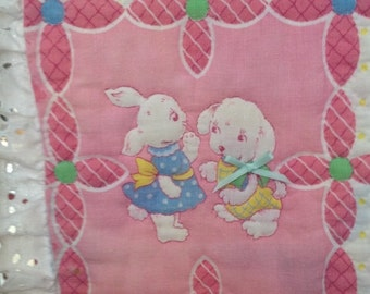 Handmade and Embellished Whole Cloth Pink, White, and Yellow Baby Quilt from Retro Cotton Fabric