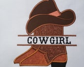 Cowboy Cowgirl Boot split with hat Applique Embroidery Design