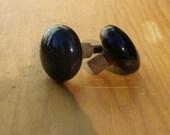 Pair of Black Knobs, Two Black Porcelain Door Knob, vintage door knob, black door knob, doors